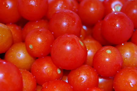 Cherry tomatoes from the garden, rinsed and ready