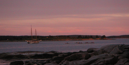 An evening paddle as seen from Pond Island, Maine.