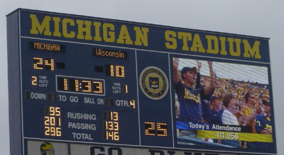 Big House attendance - 196th 100k+ game in a row.