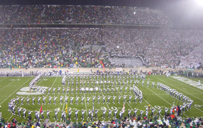 The MSU Spartan Marching Band downfield drill.