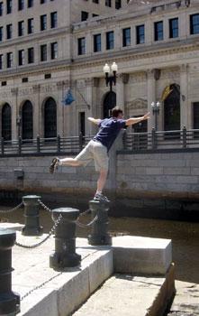 Corey along the Providence River